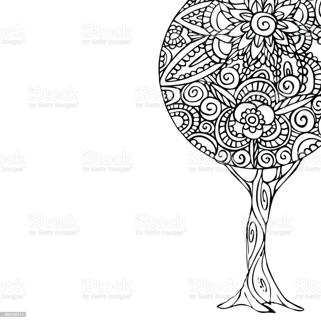 Vetores De Arvore Mandala Arte Ilustracao Para O Livro Para