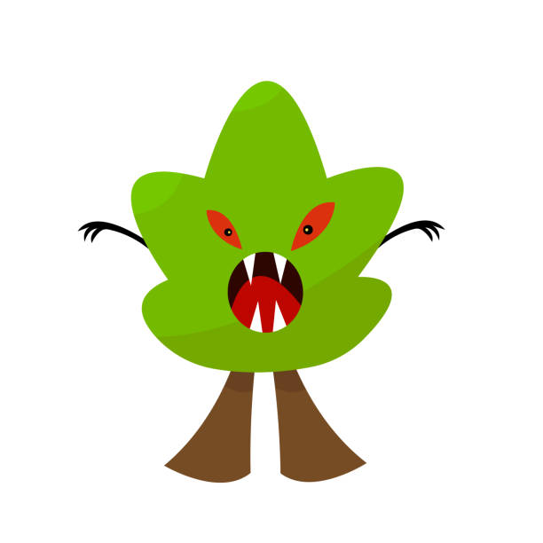 tree Monster with green top red evil eyes open mouth and sharp fangs vector art illustration