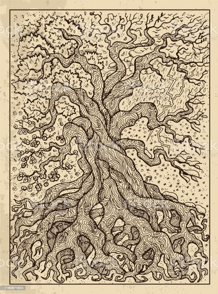 Tree. Mystic concept for Lenormand oracle tarot card. Tree. Mystic concept for Lenormand oracle tarot card. Vector engraved illustration. Fantasy line art drawing and tattoo sketch. Gothic, occult and esoteric background Antique stock vector