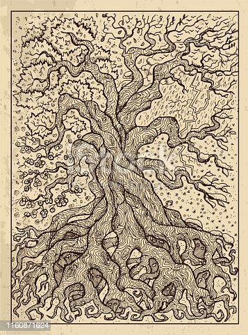 Tree. Mystic concept for Lenormand oracle tarot card.