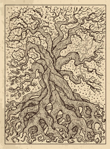 Tree. Mystic concept for Lenormand oracle tarot card. vector art illustration