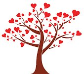Vector illustration of the tree of hearts, valentines day background