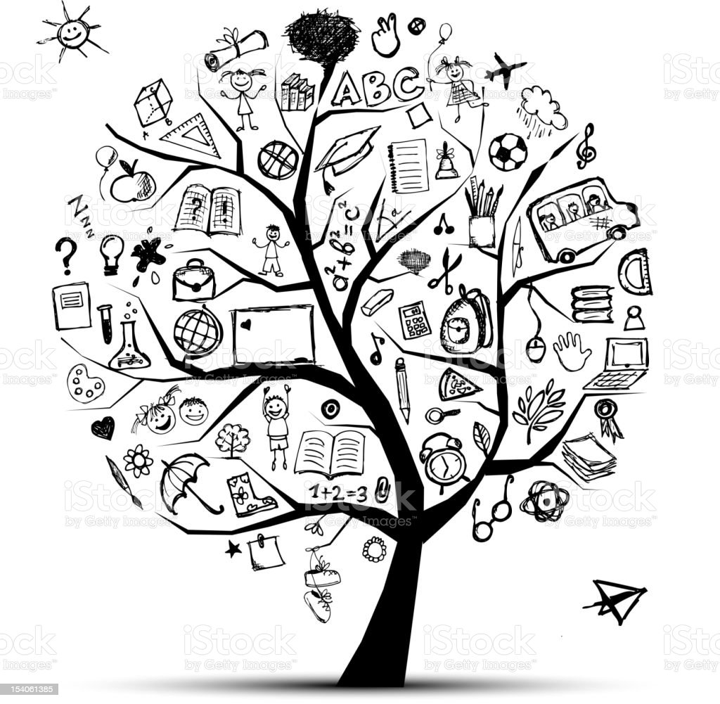 Tree of knowledge, school concept for your design royalty-free stock vector art