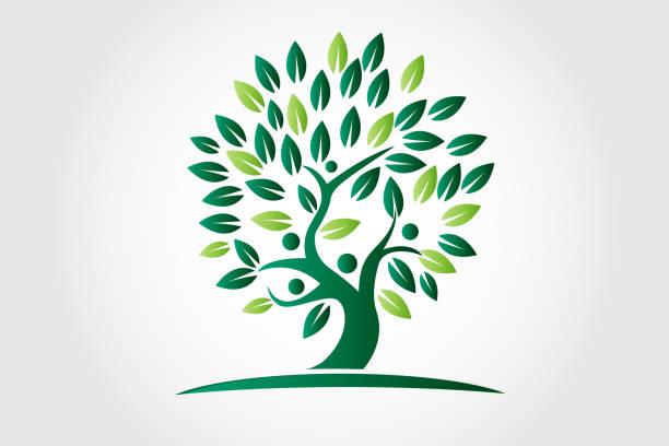 illustrations, cliparts, dessins animés et icônes de l'écologie d'arbre de vie et l'icône de figures de personnes - arbres généalogiques
