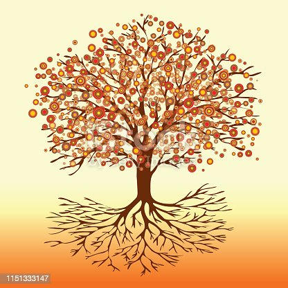 A vector illustration of a tree of life with abstract round fiery flowers