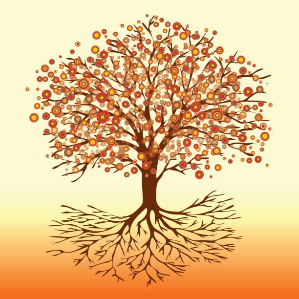 Árbol de la vida flores ardientes - ilustración de arte vectorial