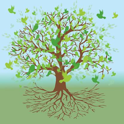 Tree of life green bird version