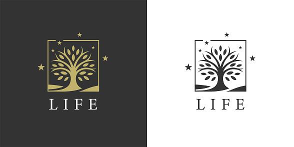 Tree of life icon. Nature symbol. Oak tree emblem. Environment sign. Vector illustration.