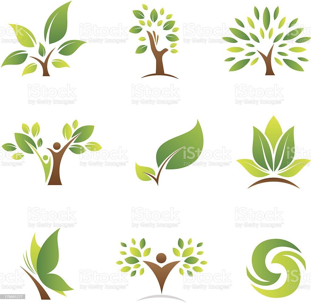 Arbre de vie logos et icônes - Illustration vectorielle
