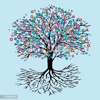 istock Tree of life rainbow flowers version 1146655240