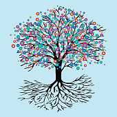 A tree of life with abstract rainbow flowers