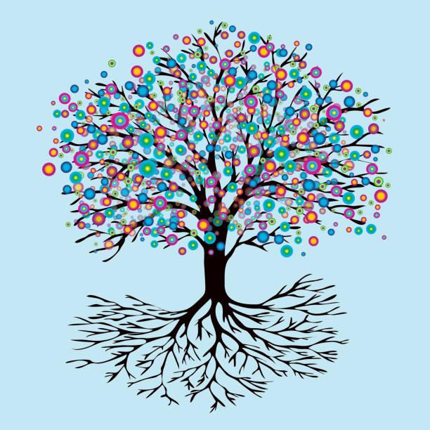 Tree of life rainbow flowers version A tree of life with abstract rainbow flowers new life stock illustrations
