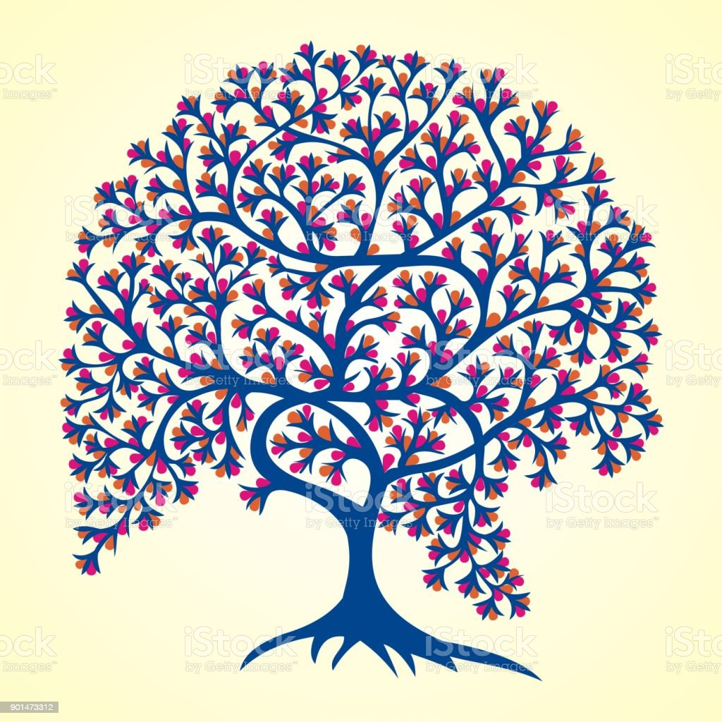 Árbol de la vida Tribal Gond pintura - ilustración de arte vectorial