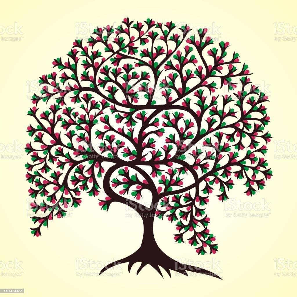 Baum Des Lebensstammes Gond Malerei Stock Vektor Art und mehr Bilder ...
