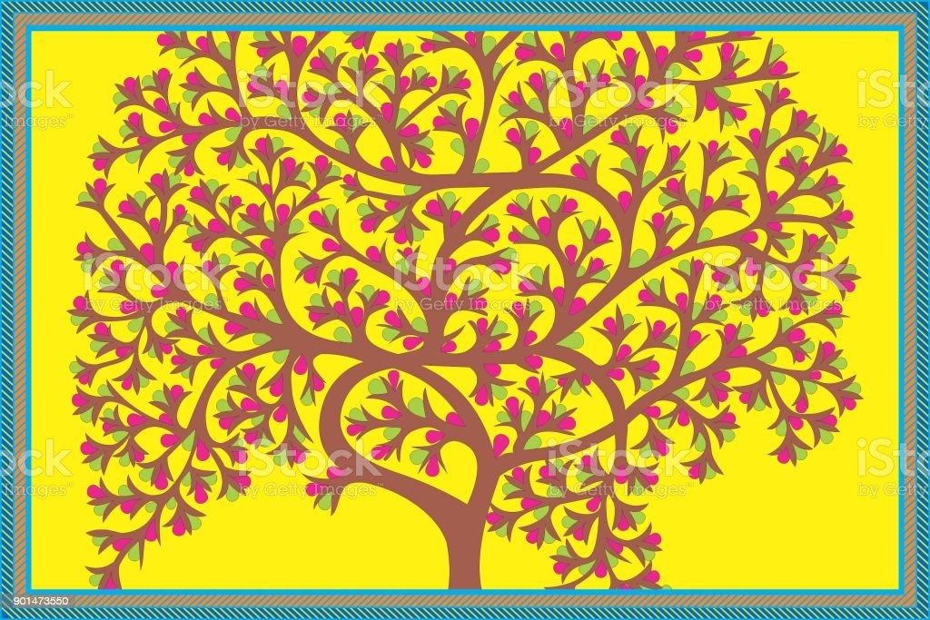 Baum Des Lebensstammes Gond Malerei Vektor Illustration 901473550 ...