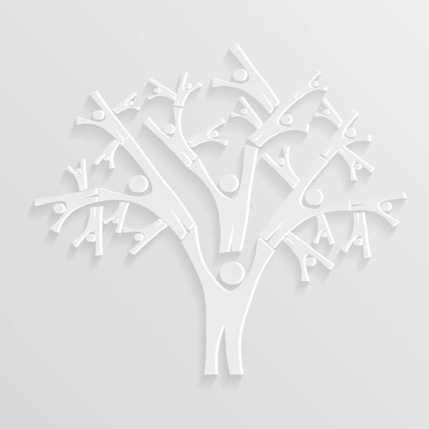 baum von personen - stammbäume stock-grafiken, -clipart, -cartoons und -symbole