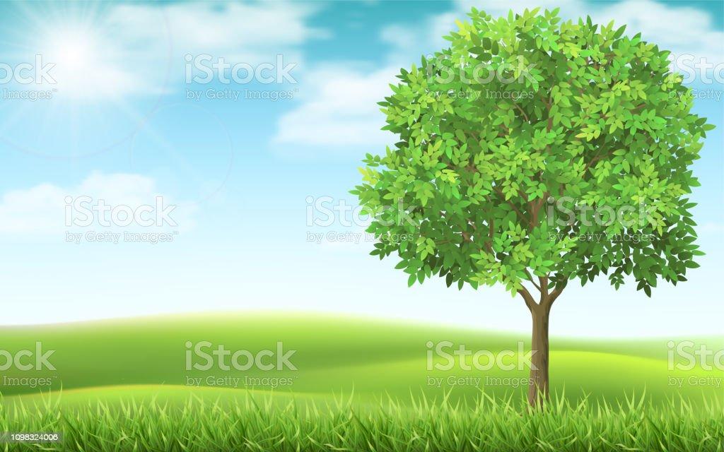 Tree on landscape background. royalty-free tree on landscape background stock illustration - download image now