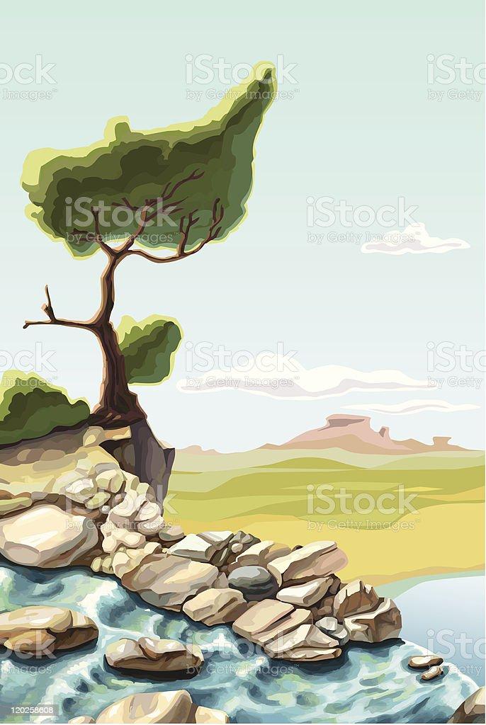 Tree on the brink of a precipice vector art illustration