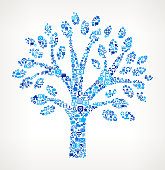 Tree on vector technology pattern Background