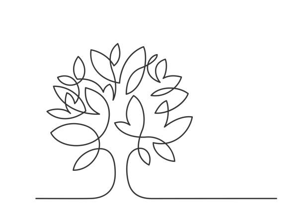tree one line 2 Continuous line drawing of tree on white background. Vector illustration trees stock illustrations