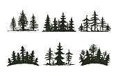 Tree outdoor travel black silhouette coniferous natural badge, tops pine spruce branch cedar and plant leaf abstract stem drawing vector illustration