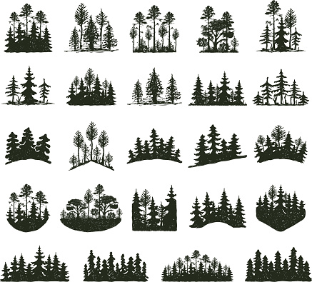 Tree outdoor travel black silhouette clipart