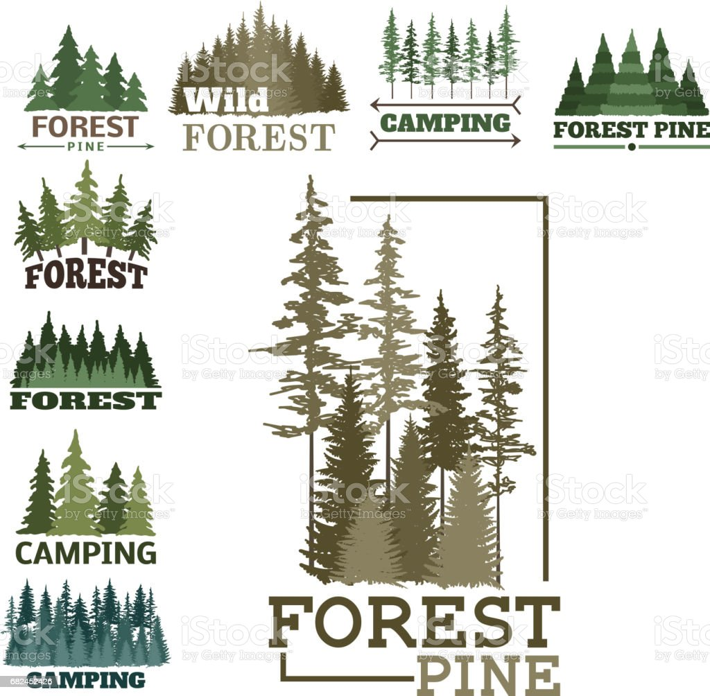 Tree outdoor travel green silhouette forest badge coniferous natural icon badge tops pine spruce vector ilustración de tree outdoor travel green silhouette forest badge coniferous natural icon badge tops pine spruce vector y más banco de imágenes de abeto libre de derechos