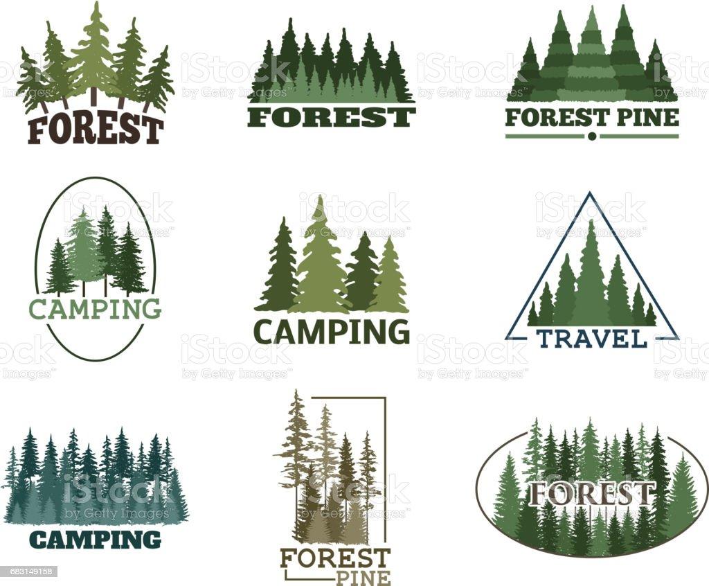 Baum outdoor-Reisen grün Silhouette Wald Abzeichen Nadel-natürliche Logo Abzeichen Tops Kiefer Tanne Vektor – Vektorgrafik