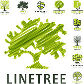 Tree outdoor travel green silhouette forest badge coniferous natural badge tops line spruce vector