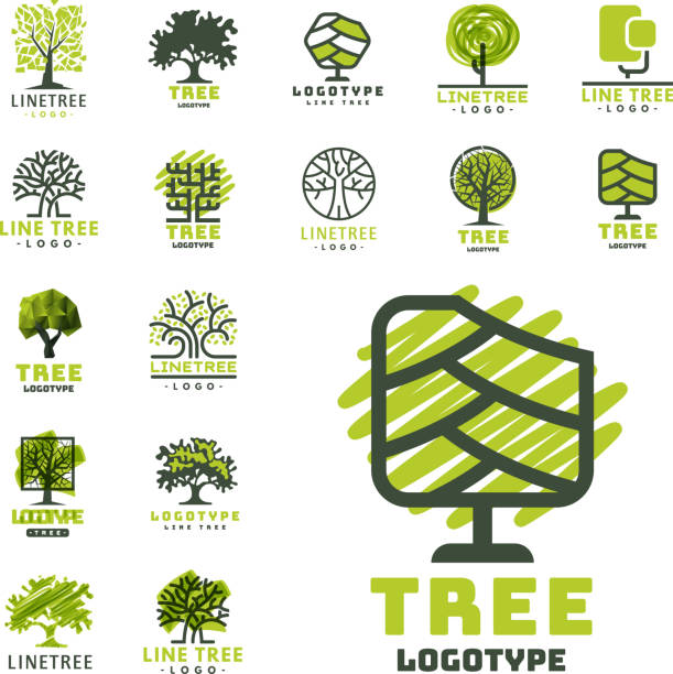 tree outdoor travel green silhouette forest badge coniferous natural badge tops line spruce vector - abstract silhouettes stock illustrations