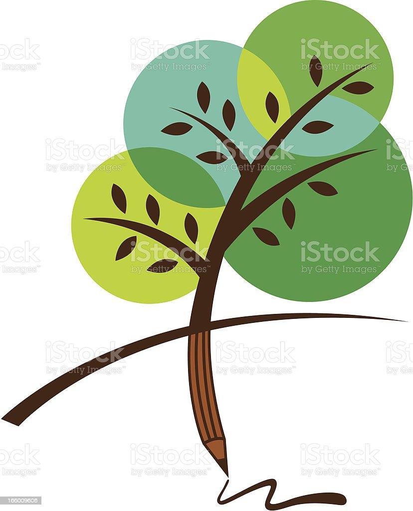 Tree pencil royalty-free stock vector art
