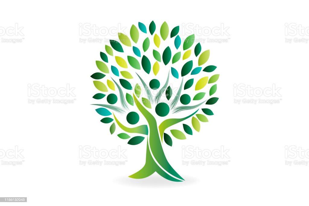 Green tree people ecology symbol logo vector image