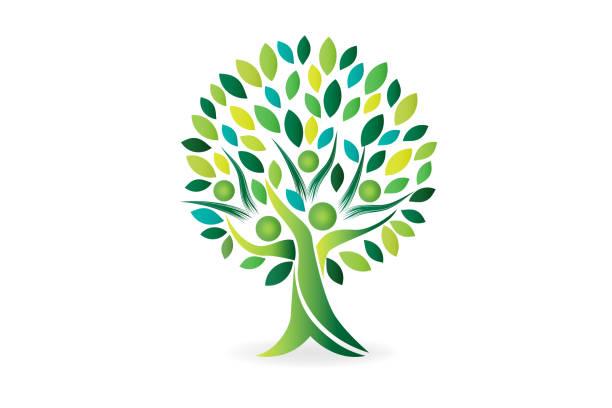 baum menschen familie ökologie symbol vektor - landschaftstattoo stock-grafiken, -clipart, -cartoons und -symbole
