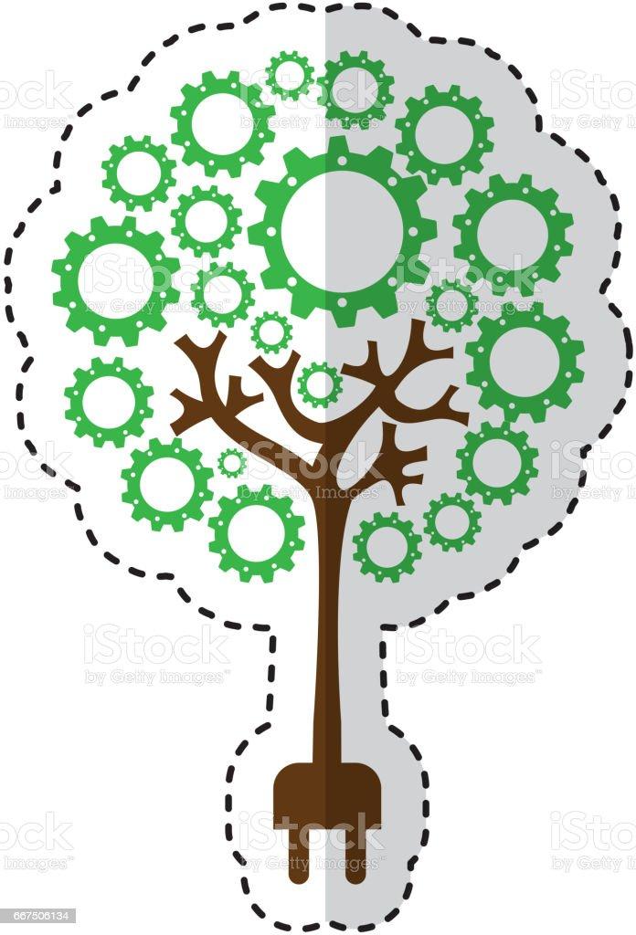 tree plant with gears isolated icon tree plant with gears isolated icon - immagini vettoriali stock e altre immagini di albero royalty-free