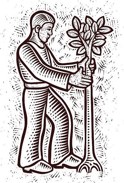 baum planter - gartenskulpturkunst stock-grafiken, -clipart, -cartoons und -symbole