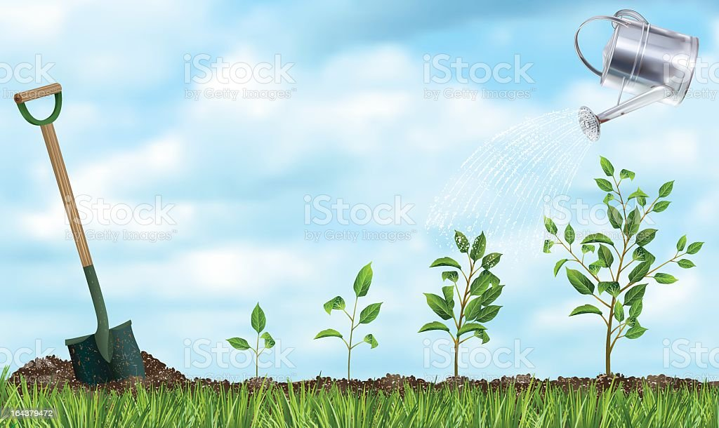 Tree Planting for Arbor Day vector art illustration