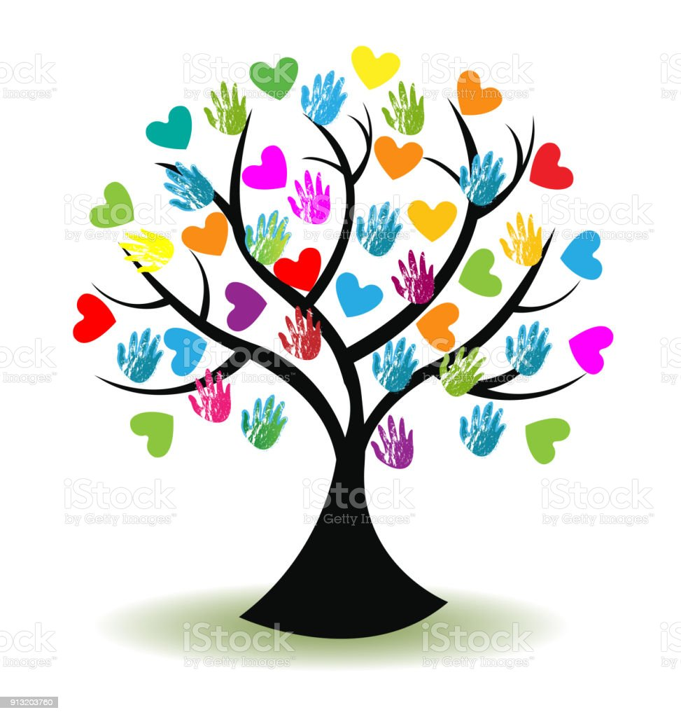 Tree Print Hands And Hearts Icon Vector Image Family Symbol Stock