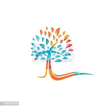 istock Tree religious cross symbol icon vector design. 1253253043