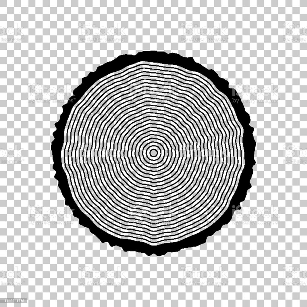 Tree Ring And Saw Cut Tree Trunk Green Vector Icon Stock