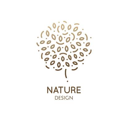 Tree round doodle emblem