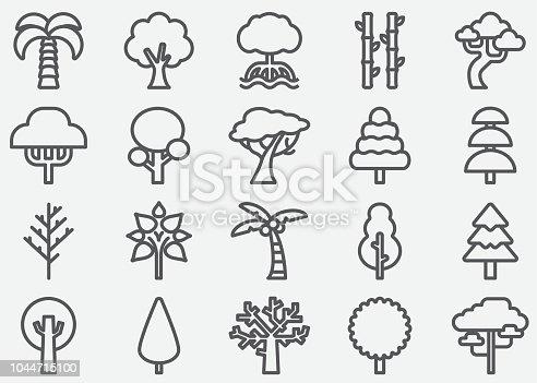 Tree Shape Line Icons
