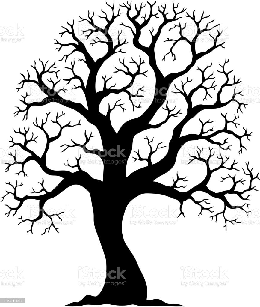 Tree shaped silhouette 2 vector art illustration