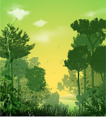 design of vector tree silhouette landscape.This file was recorded with adobe illustrator cs4 transparent.EPS 10 format.