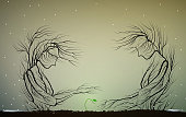 tree silhouette like a woman and man take care of first green sprout, parents or family concept, first spring sprout,