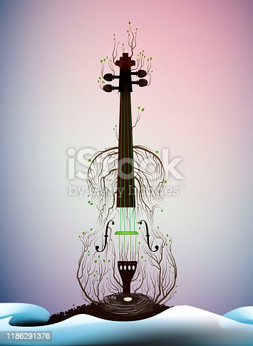 tree silhouette like violine, spring melody, spring music idea,  vector