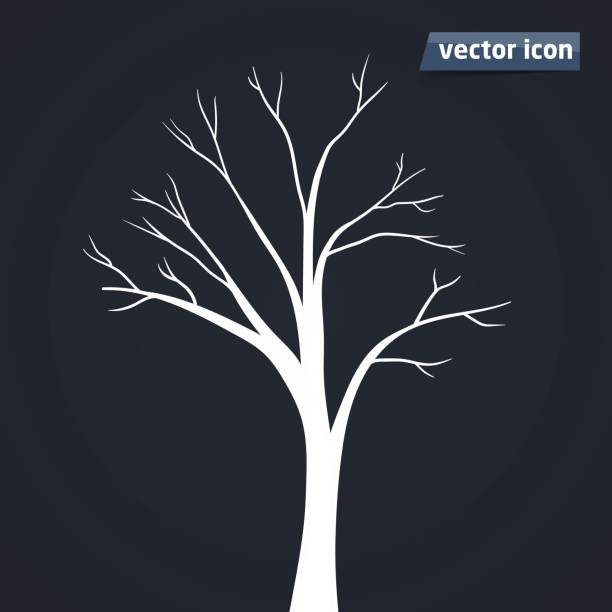 tree silhouette vector icon - stripped pattern stock illustrations, clip art, cartoons, & icons