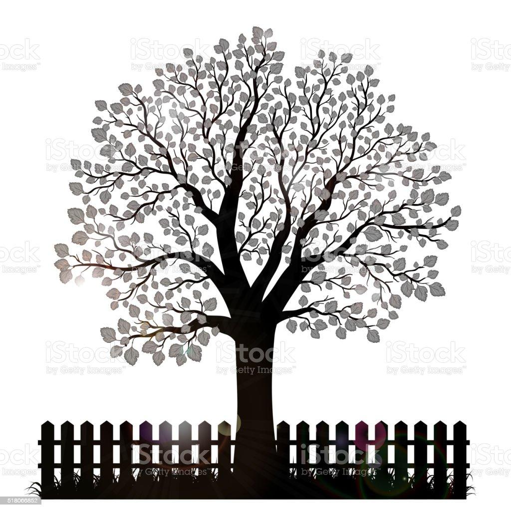 Baum Kontur Mit Blatter Zaun Und Garten Stock Vektor Art Und Mehr