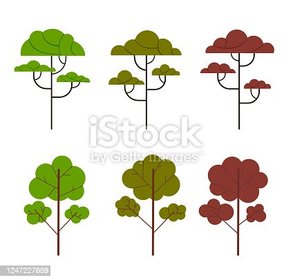 Tree simple set isolated collection. Vector flat cartoon graphic design