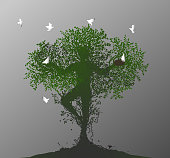 tree soul, spirit of the forest, birds return to the alive tree, tree man,