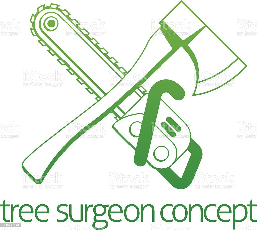 Tree Surgeon Axe and Cainsaw Concept vector art illustration